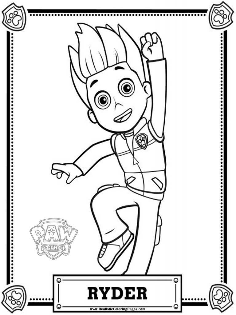 Coloring Pages Paw Patrol : Paw patrol coloring pages ryder realistic