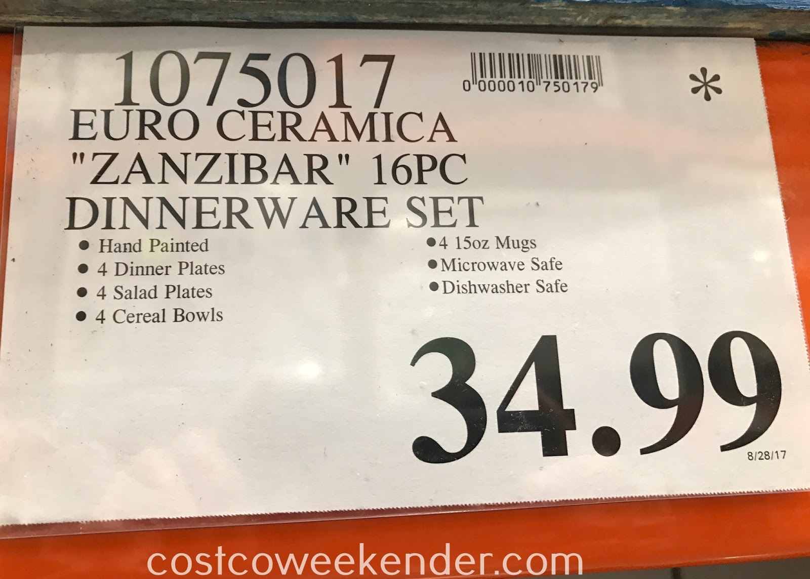 Deal for the Euro Ceramica Zanzibar 16 Piece Dinnerware Set at Costco