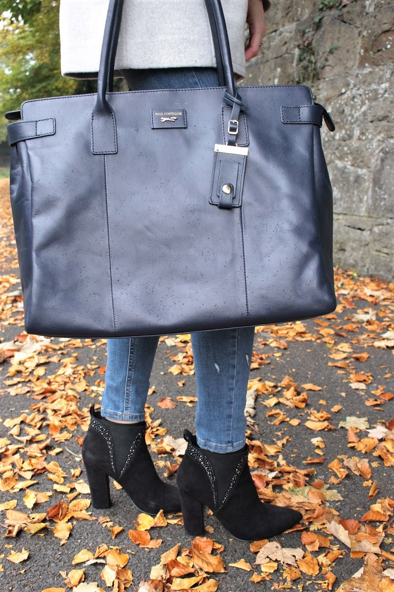 paul costelloe, leather bag, blue bag, moda in pelle, ankle boots