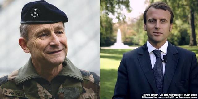 Image Attribute: (L) Pierre de Villiers, Chef d'État-Major des armées by Jean Bouclier (R) Emmanuel Macron en septembre 2014 by Gouvernement français