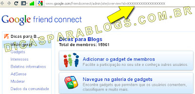 ID da pagina no google friend connect
