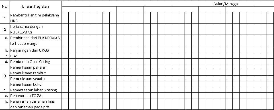 Contoh Format Program Kerja PHBS di Sekolah Tingkat SD Tahun Ajaran 2016-2017 Format Microsoft Excel