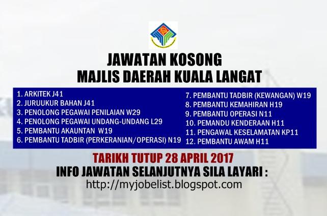 Jawatan Kosong Majlis Daerah Kuala Langat (MDKL) April 2017
