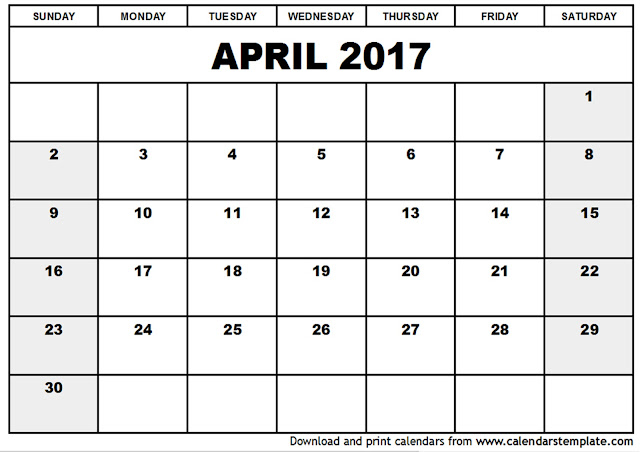 April 2017 Printable Calendar, April 2017 Blank Calendar, April 2017 Calendar with holidays, April 2017 Calendar PDF, April 2017 Calendar Printable