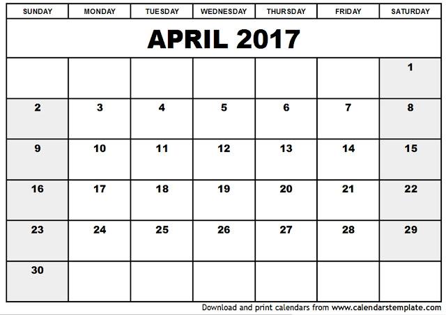 Get Printable Calendar  April 2017 Printable Calendar Blank
