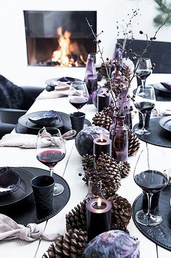 como decorar mesa para halloween con tonos oscuros sin elementos terroríficos