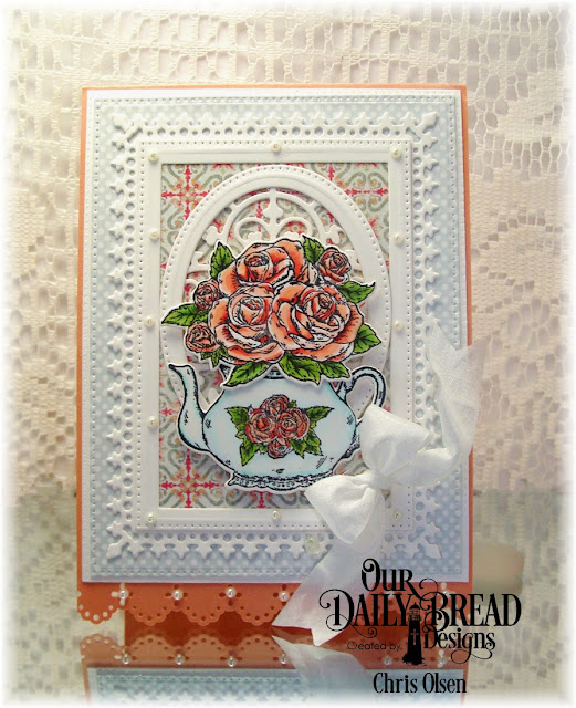 Our Daily Bread Designs, Tea Time, Lavish Layers Dies, Pierced Rectangle dies, Rectangle Dies, Tea pot and Roses die, Pierced Ovals, Majestic Medallion die, Cozy Comfort Collection die, Pastel Paper Pack, designed by Chris Olsen