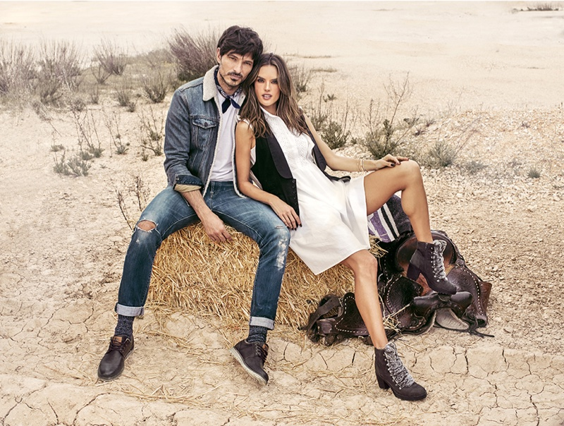 Andres Velencoso and Alessandra Ambrosio wear western fashions for XTI Shoes fall-winter 2018 campaign
