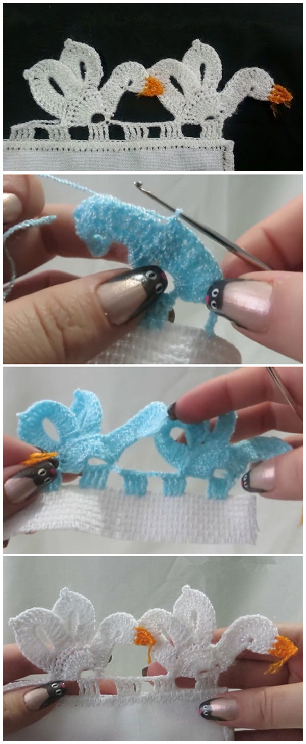 Crochet Swan Edging With Video Tutorial