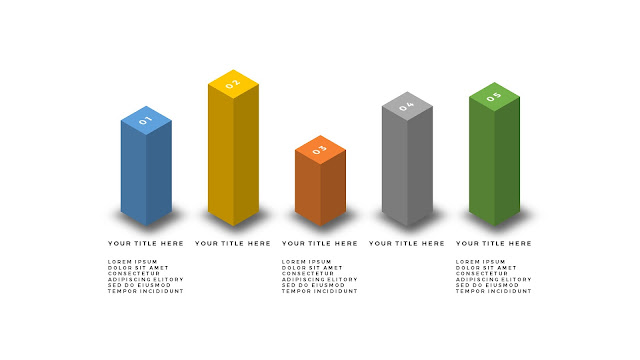 Useful 3D Cube Design Elements for PowerPoint Template with Top 5 different items