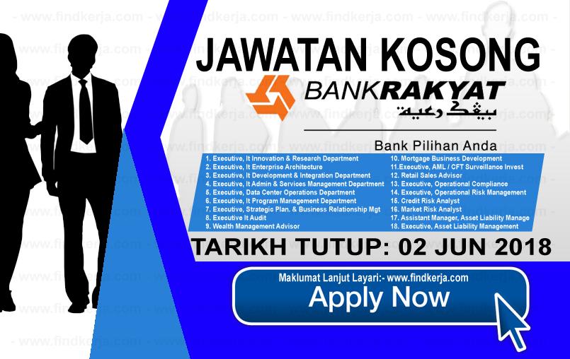 Jawatan Kerja Kosong Bank Rakyat logo www.findkerja.com jun 2018