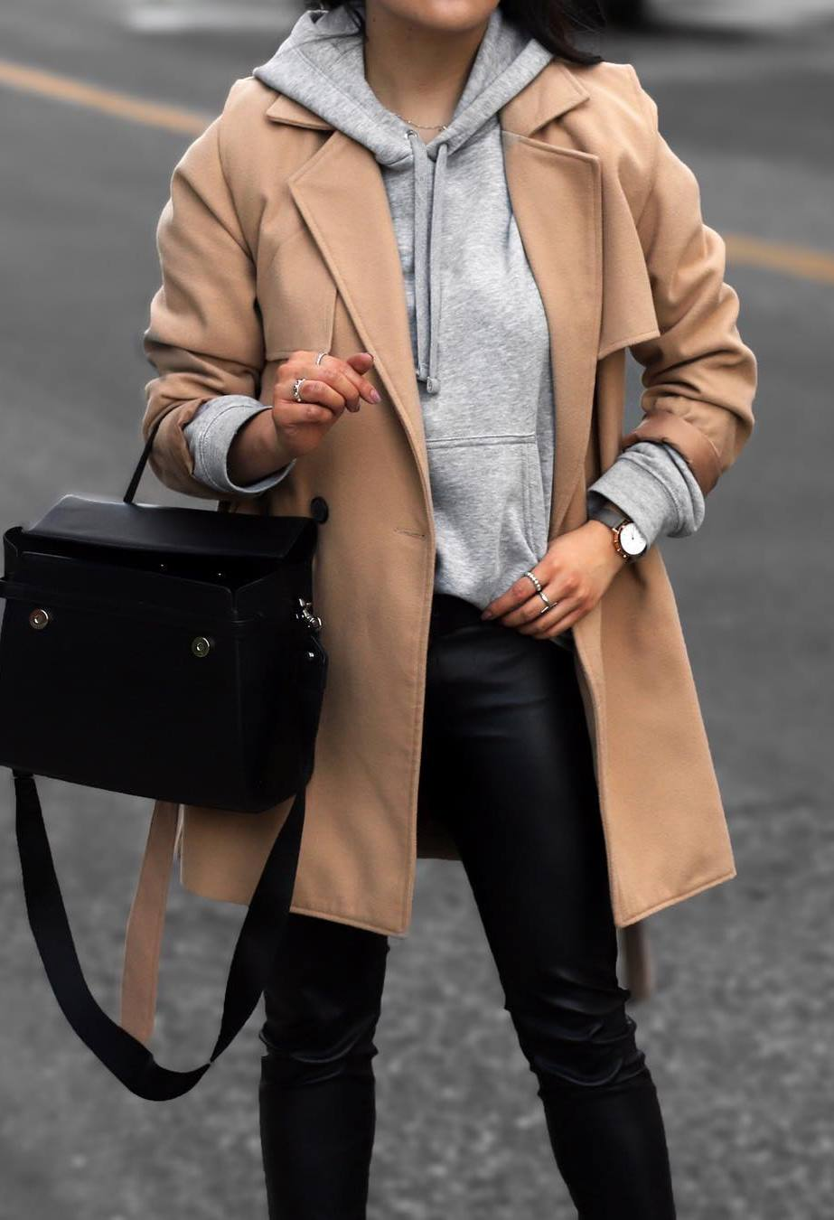 fall trends / nude trench coat + black leather pants + bag + sweatshirt