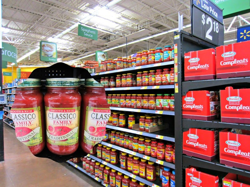 Italian Sausage Stuffed Peppers with Pasta Sauce:  shopping for sauce at Walmart #shop #familyfavorites
