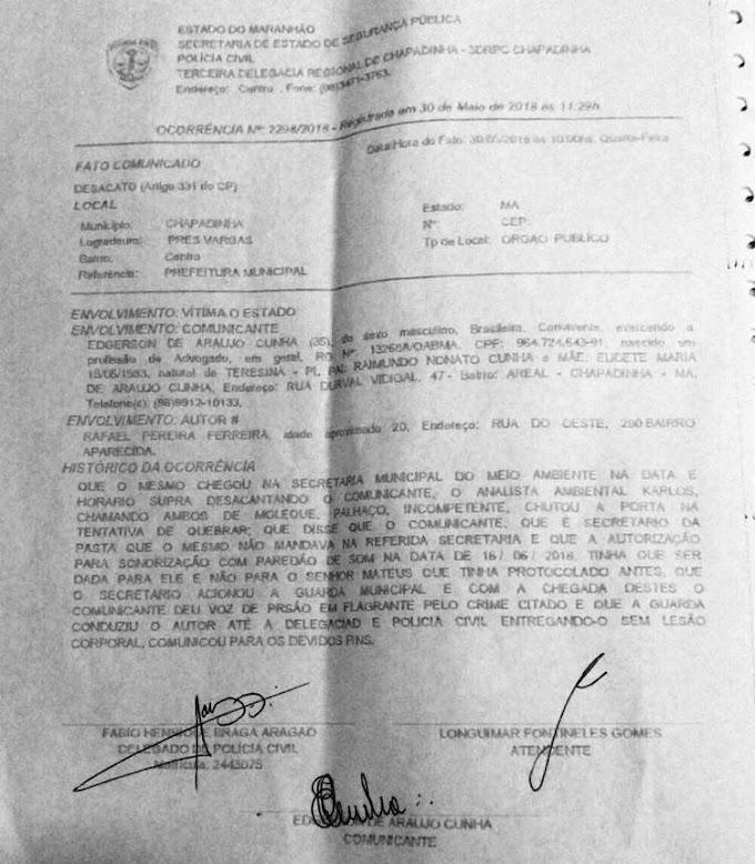 NOTA DE ESCLARECIMENTO SOBRE FATO ENVOLVENDO PROMOTOR DE EVENTOS, EM CHAPADINHA