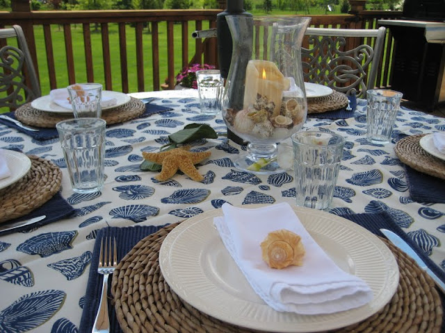Outdoor Table Setting with a beach theme