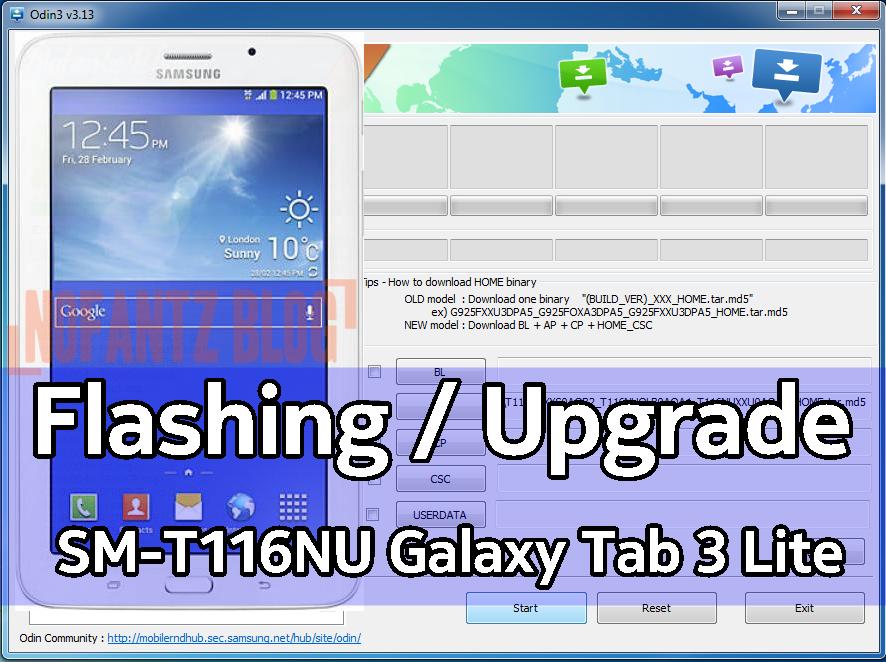 Cara Flashing Samsung Galaxy Tab 3 Lite SM-T116NU via ODIN