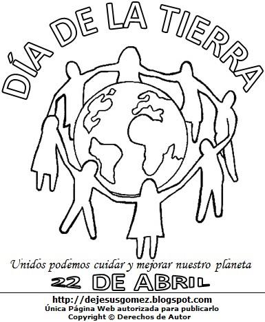 Dibujo al Día de la Tierra para colorear pintar imprimir. Imagen del Día de la Tierra de Jesus Gómez