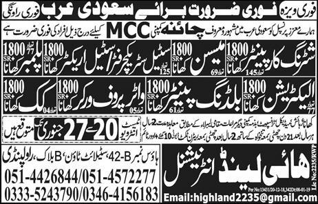 Jobs Vacancies Announces In High Land International At 11 January 2019