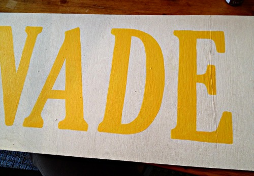 handpainted yellow letters