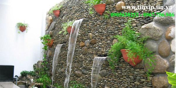 Thi công tường đá thác nước