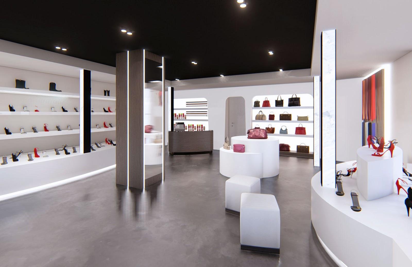 Un moderno spazio di vendita in bianco e nero