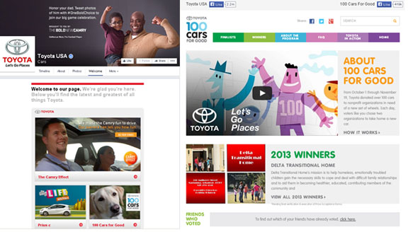 Toyota's Facebook Tabs (Custom Page Design for Branding)