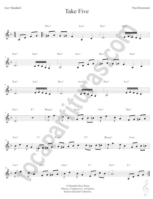 Take Five de Paul Desmond Partitura Fácil con Acordes Take Five Easy Sheet Music with Chords
