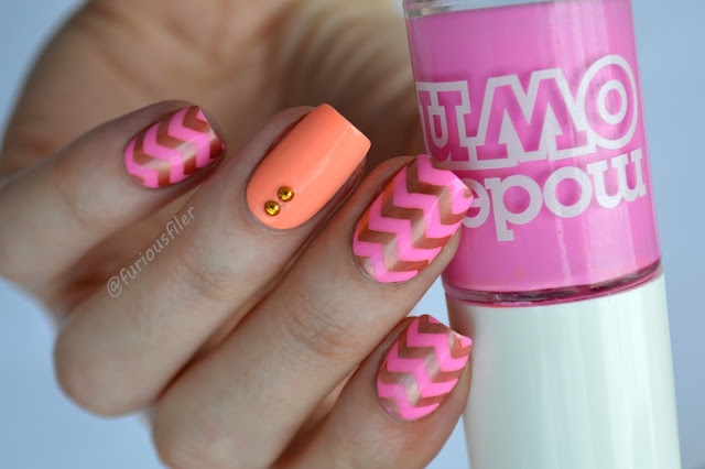neon pink peach copper gold studs nails chevrons