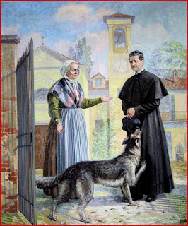 St Don Bosco in Turin with the grey dog, Grigio.