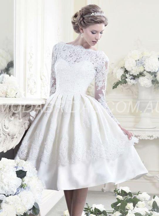 Vestido de Noiva Curto com  Appliques Marfim