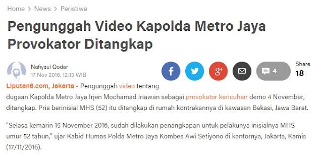 Pengunggah Video Kapolda Metro Jaya Provokator Ditangkap