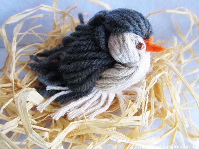 pájaro realizado con lana