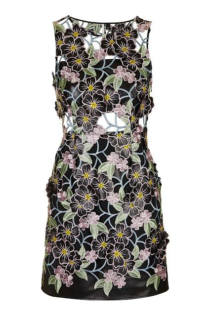 flower appliqué dress,