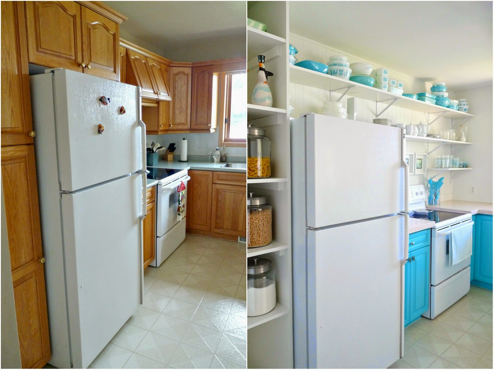 Kitchen Makeovers On A Budget Before And After a budget-friendly turquoise kitchen makeover | dans le lakehouse