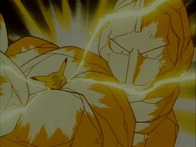 Pikachu realizando um golpe Electric em um tipo Ground (Onix)