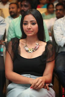 Swetha Basu in a Black Sleeveless Top Long Skirt at Mixture Potlam Movie Audio Launch 013.JPG