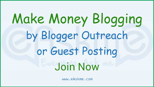 Make Money by Blogger Outreach with eAskme: Bloggers and Marketers Join Now: eAskme