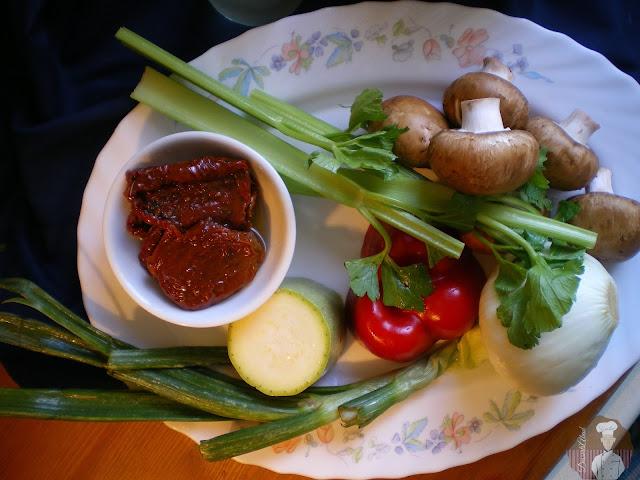 Risotto al parmesano con  champiñones, verduras y tomates secos: Ingredientes