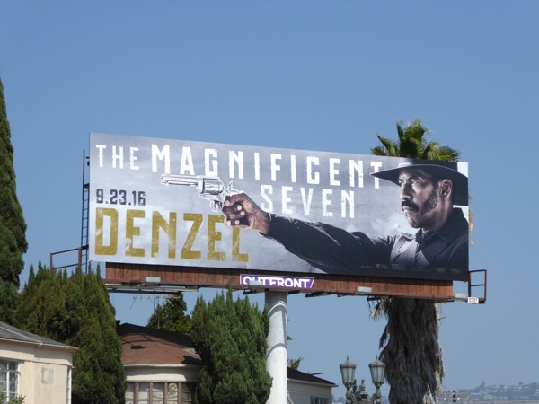 Denzel Washington Magnificent Seven movie billboard