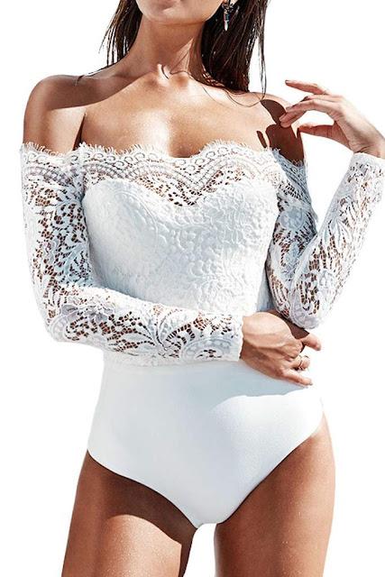 Iyasson Off Shoulder Lace Crochet Slinky Bodysuit