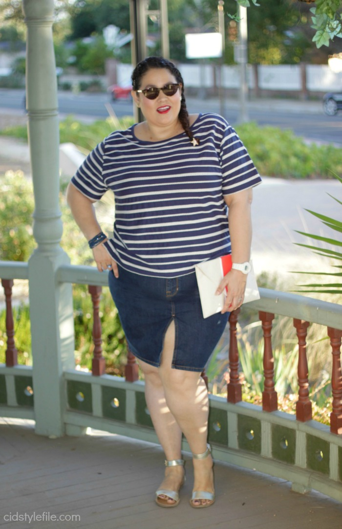 old navy, denim, skirt, untamed style, stripes, 4th of july, vacation style, plus size fashion, american blogger, latina style blogger, cidstylefile, linkup, anaheim
