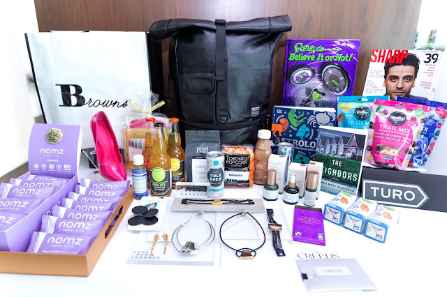 The contents of a Toronto International Film Festival Bask-It-Style Celeb Swag Bag