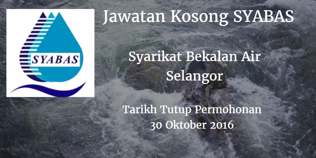 Jawatan Kosong SYABAS 30 Oktober 2016