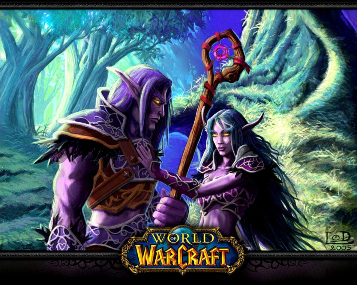 Dreamy Fantasy World Of Warcraft Elves Waterfalls Artwork