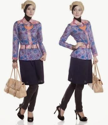 Model Baju Batik Kombinasi Polos tampil modis