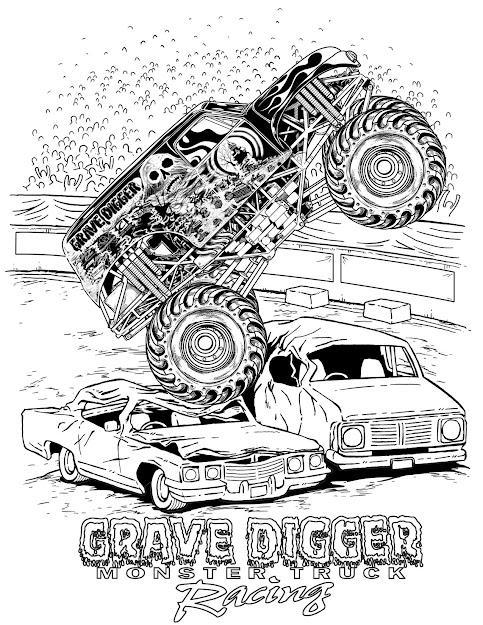 How To Draw Montstertrucks  Coloring Pages Monster Trucks Grave Digger
