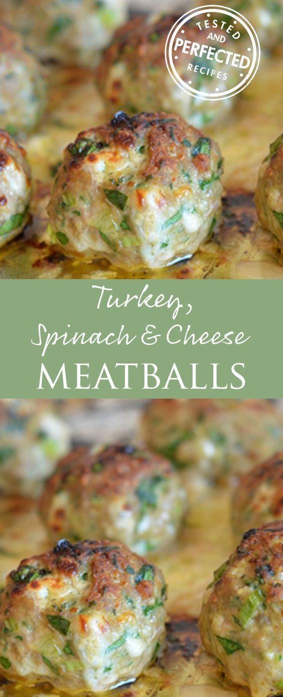 Turkey, Spinach & Cheese Meatballs #turkeyfood #spinach #cheese #meatballs #healthyfood #healthydinnerrecipes #healthydinnerrecipes #healthyrecipes
