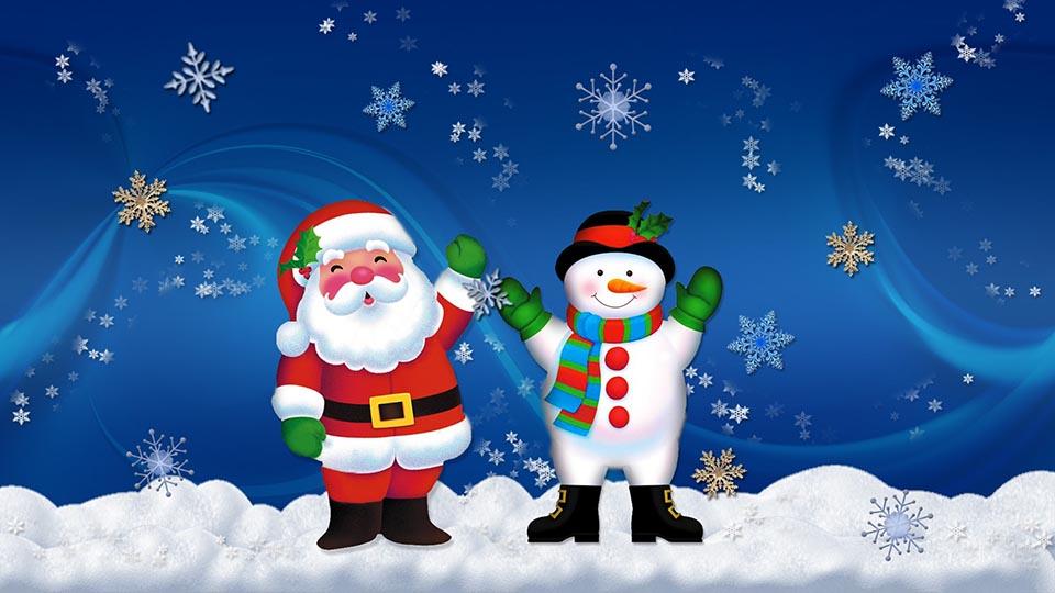 Papá Noel y muñeco de nieve