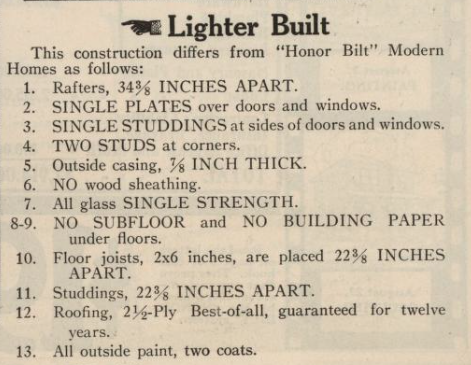description in Sears catalog of Lighter-Built houses