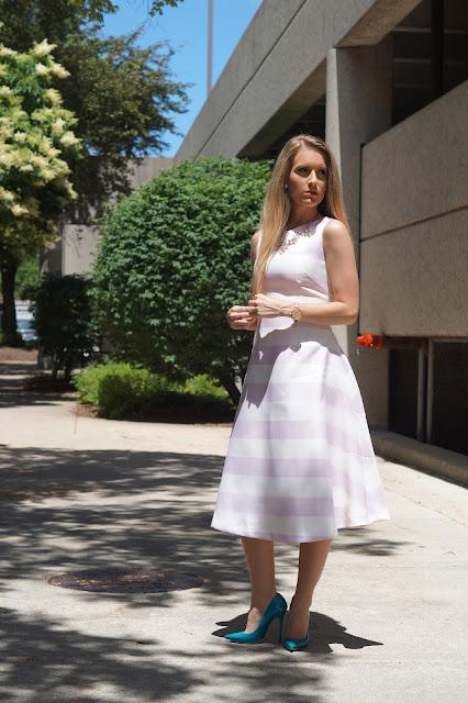 pink stripes wedding wardrobe chicago